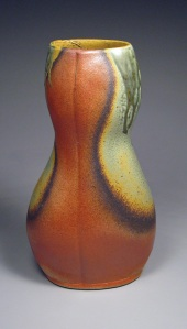 Burnt Orange and Sage Green Figurative Vase