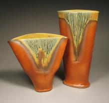 Burnt Orange and Sage Green Vases