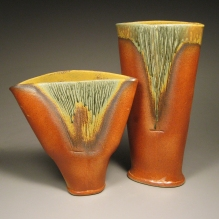 Burnt Orange and Sage Green Vases