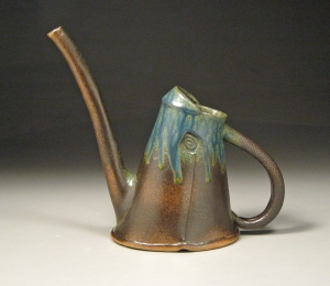 ceramic watering can, blue